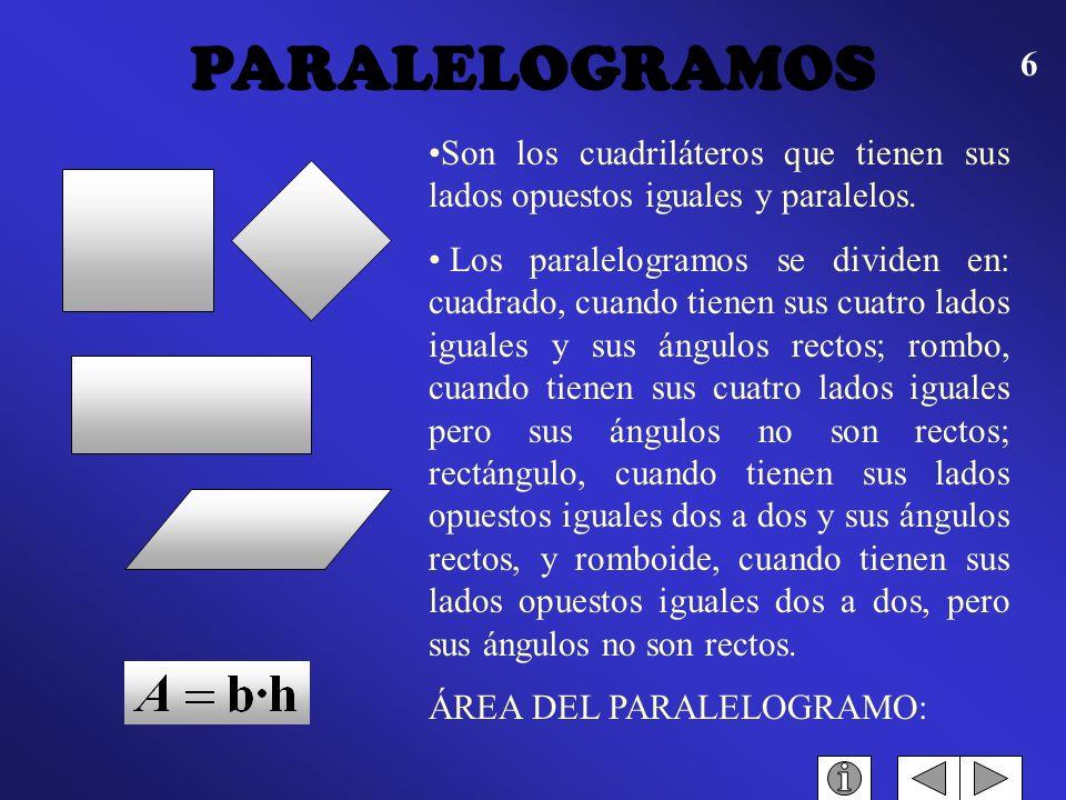 PARALELOGRAMOS Son los cuadriláteros que tienen sus lados opuestos iguales y paralelos.