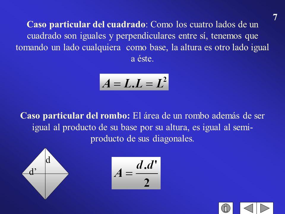 Caso particular del cuadrado: Como los cuatro lados de un cuadrado son iguales y perpendiculares entre sí, tenemos que tomando un lado cualquiera como base, la altura es otro lado igual a éste.