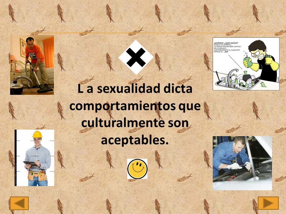 L a sexualidad dicta comportamientos que culturalmente son aceptables.
