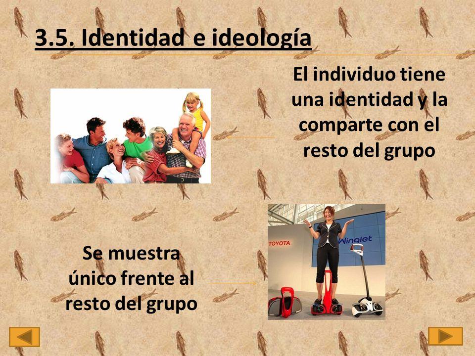 3.5. Identidad e ideología El individuo tiene una identidad y la comparte con el resto del grupo.