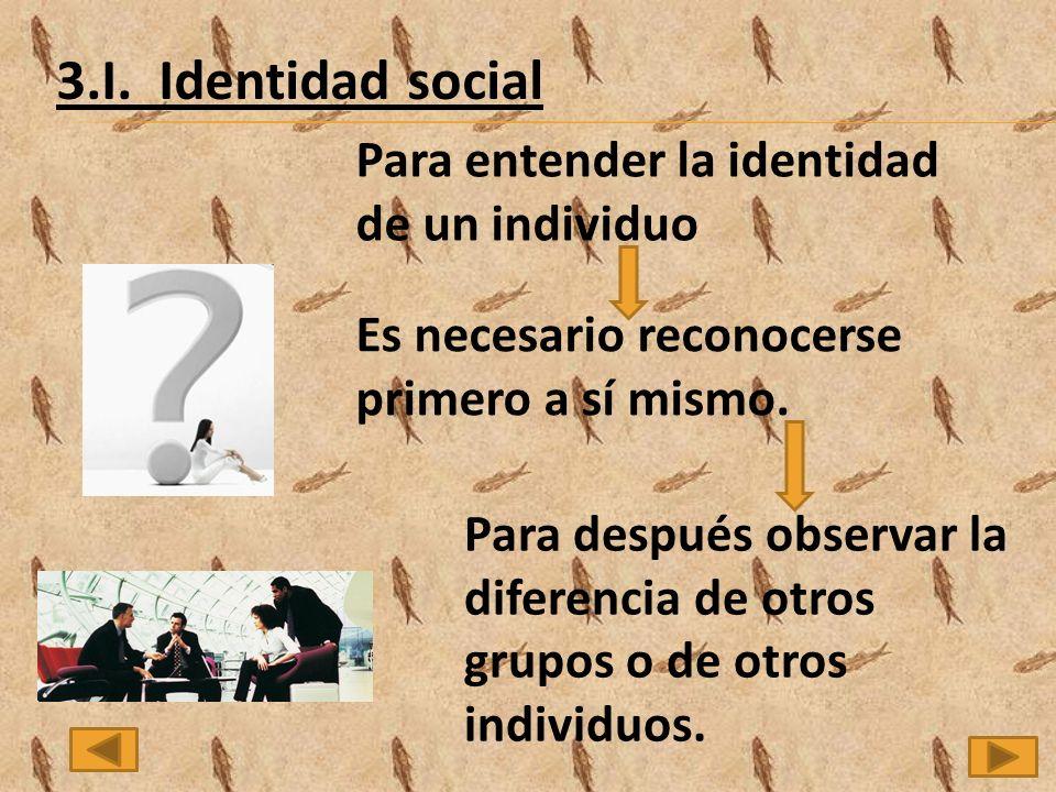 3.I. Identidad social Para entender la identidad de un individuo
