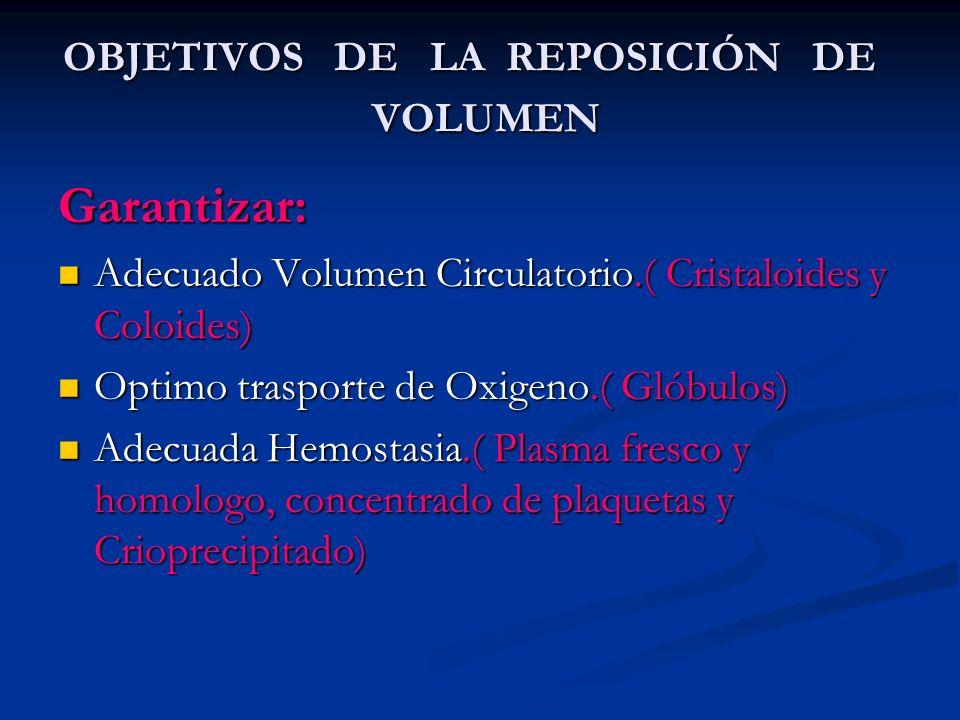 OBJETIVOS DE LA REPOSICIÓN DE VOLUMEN