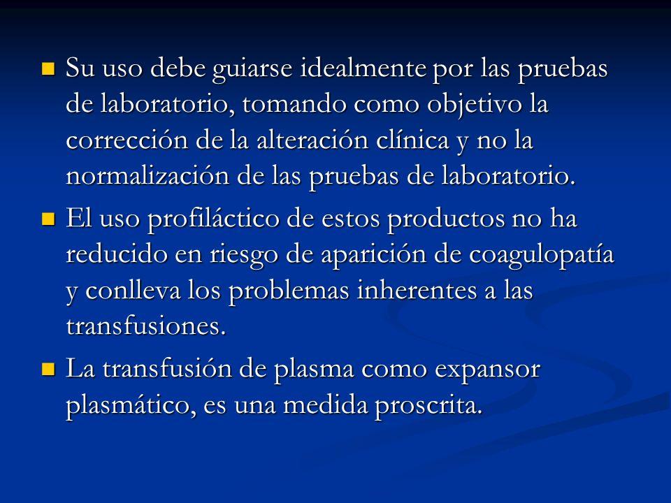 Su uso debe guiarse idealmente por las pruebas de laboratorio, tomando como objetivo la corrección de la alteración clínica y no la normalización de las pruebas de laboratorio.