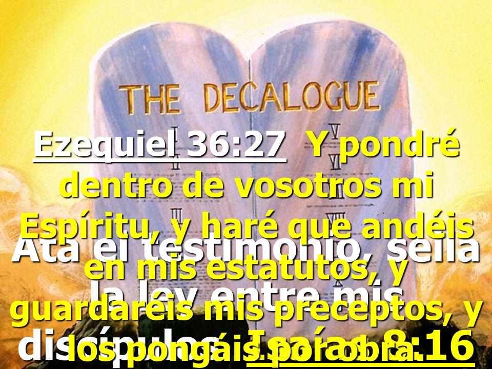 Ata el testimonio, sella la ley entre mis discípulos. Isaías 8:16