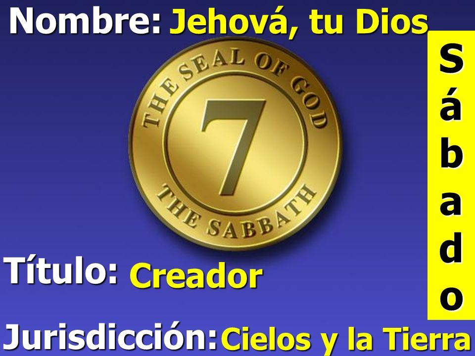 Sábado Nombre: Título: Jurisdicción: Jehová, tu Dios Creador