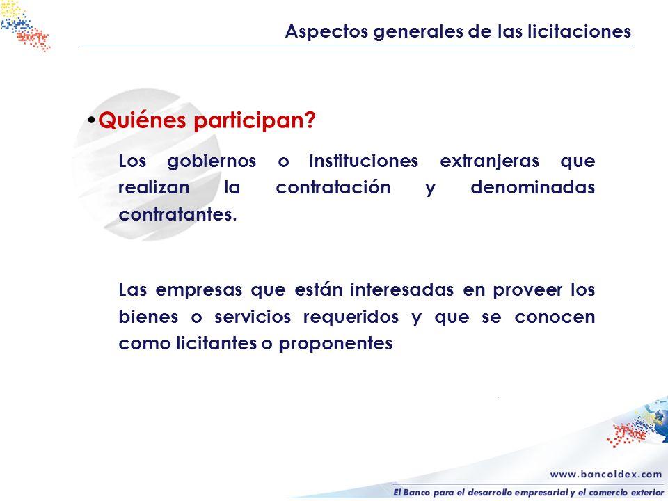 Quiénes participan Aspectos generales de las licitaciones