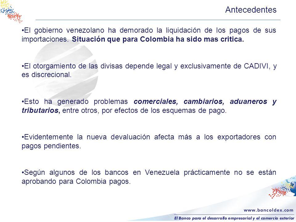 Antecedentes El gobierno venezolano ha demorado la liquidación de los pagos de sus importaciones. Situación que para Colombia ha sido mas critica.