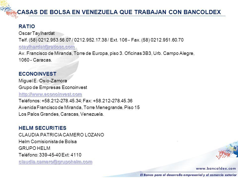 CASAS DE BOLSA EN VENEZUELA QUE TRABAJAN CON BANCOLDEX