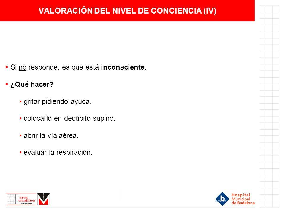 VALORACIÓN DEL NIVEL DE CONCIENCIA (IV)