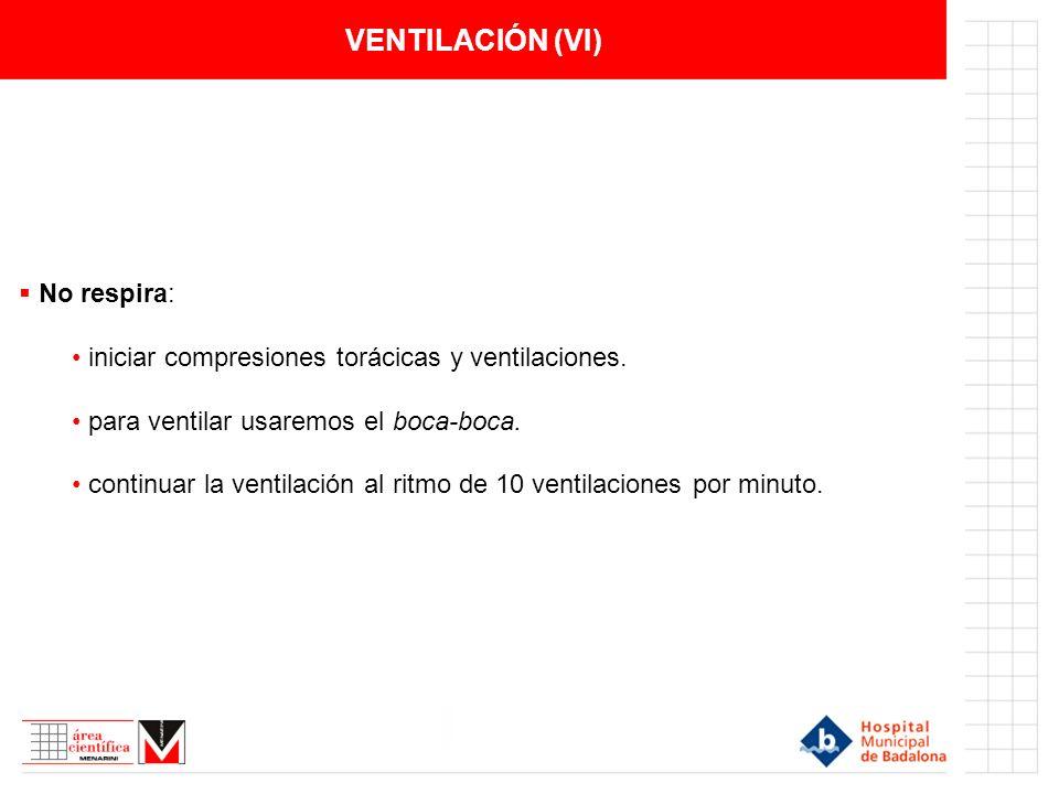 VENTILACIÓN (VI) No respira:
