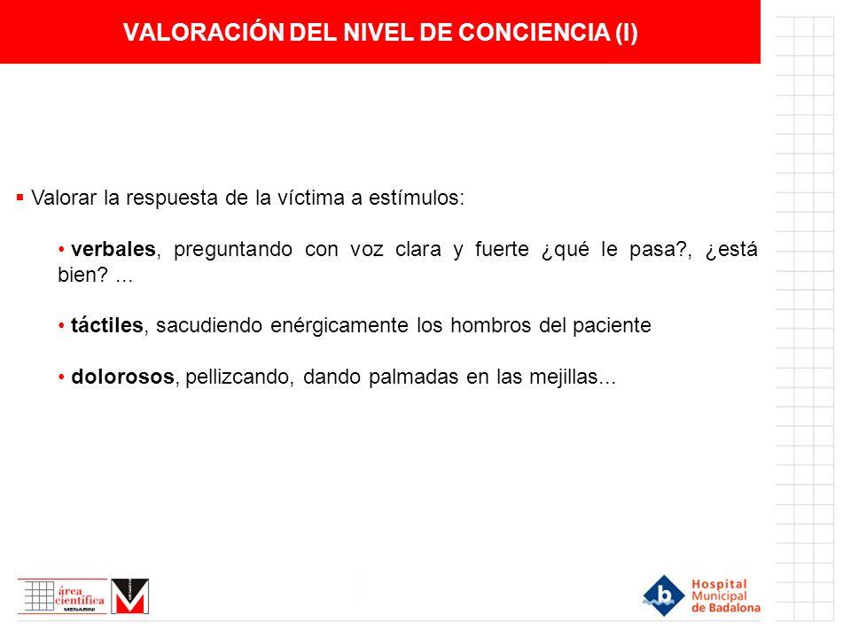 VALORACIÓN DEL NIVEL DE CONCIENCIA (I)