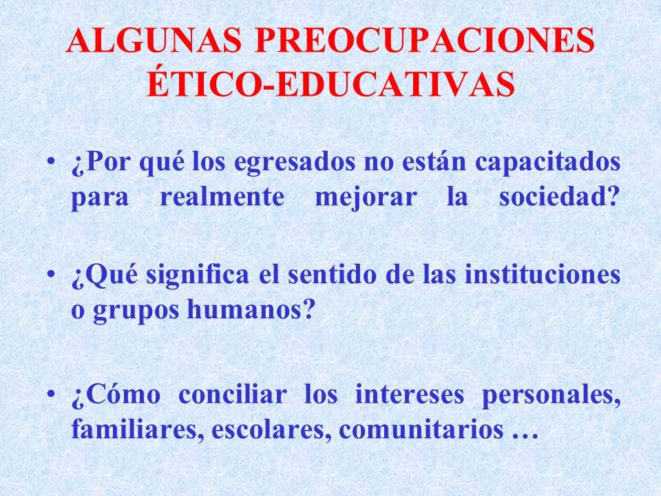 ALGUNAS PREOCUPACIONES ÉTICO-EDUCATIVAS
