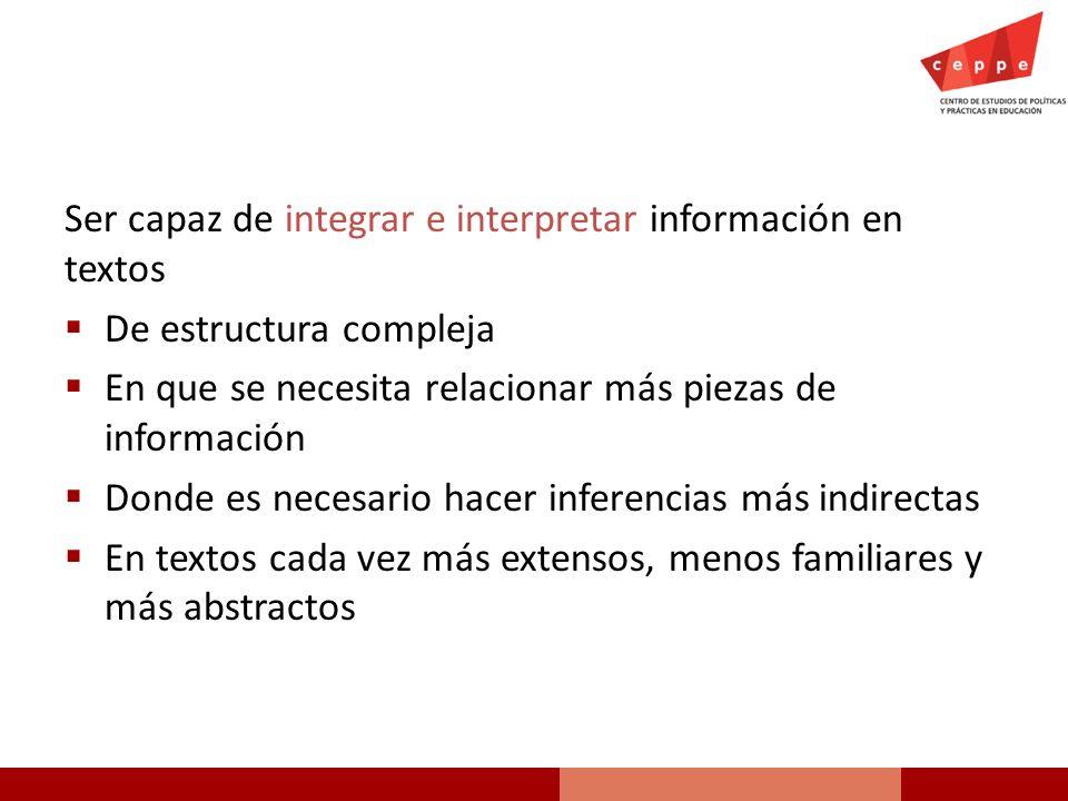 Ser capaz de integrar e interpretar información en textos