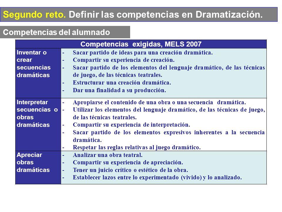Competencias exigidas, MELS 2007