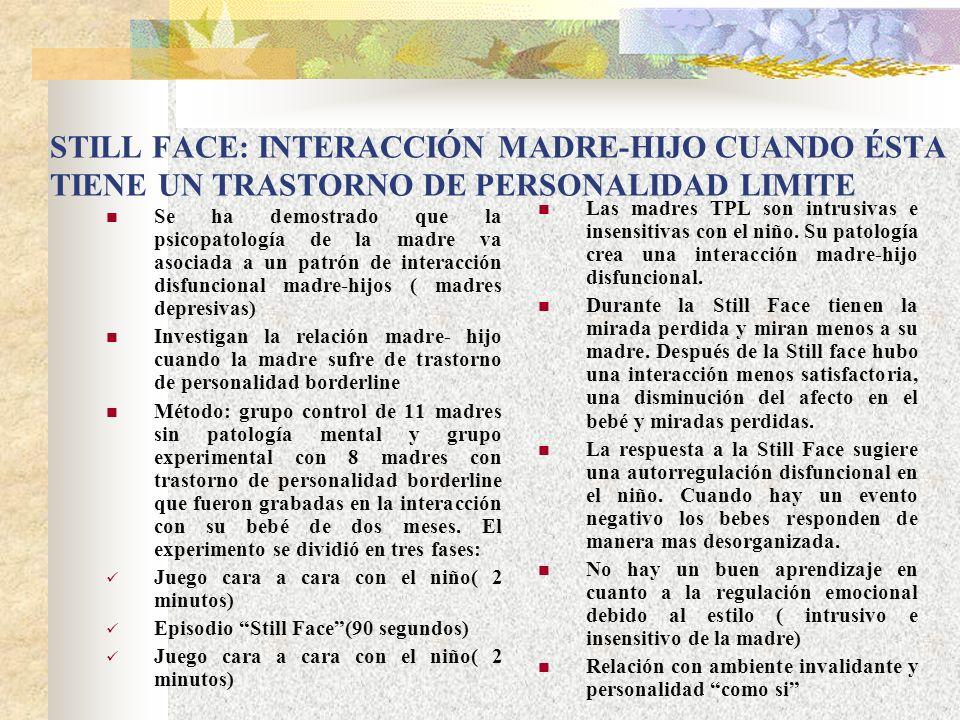STILL FACE: INTERACCIÓN MADRE-HIJO CUANDO ÉSTA TIENE UN TRASTORNO DE PERSONALIDAD LIMITE