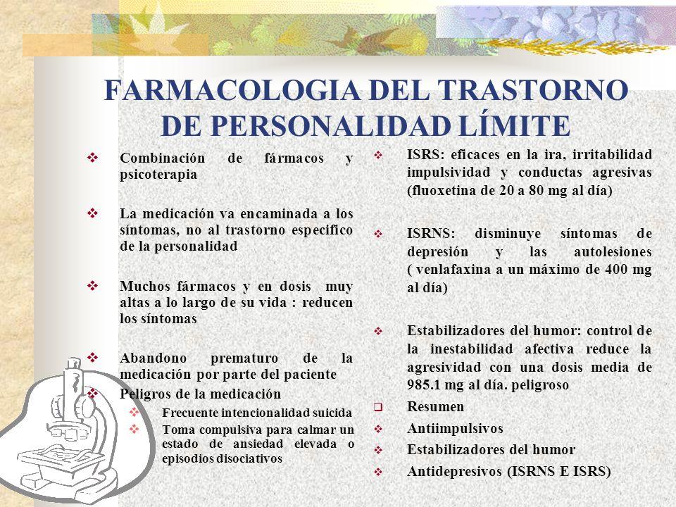 FARMACOLOGIA DEL TRASTORNO DE PERSONALIDAD LÍMITE
