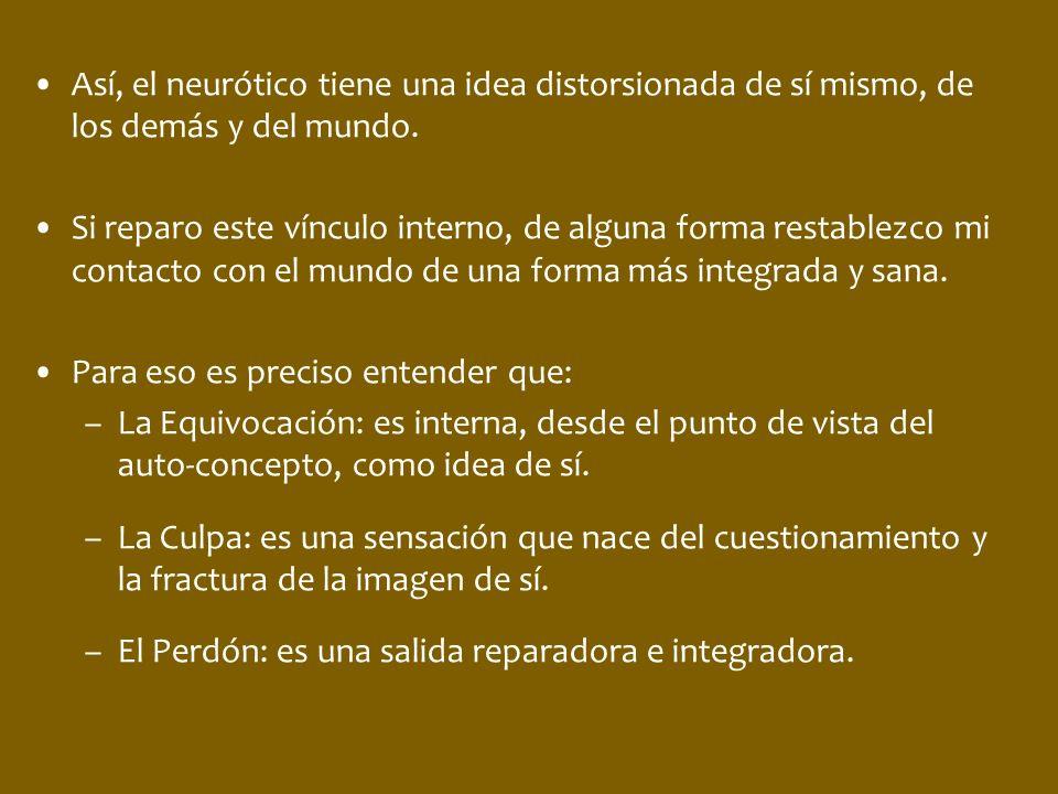 Así, el neurótico tiene una idea distorsionada de sí mismo, de los demás y del mundo.