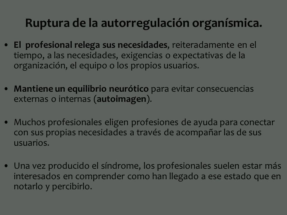 Ruptura de la autorregulación organísmica.