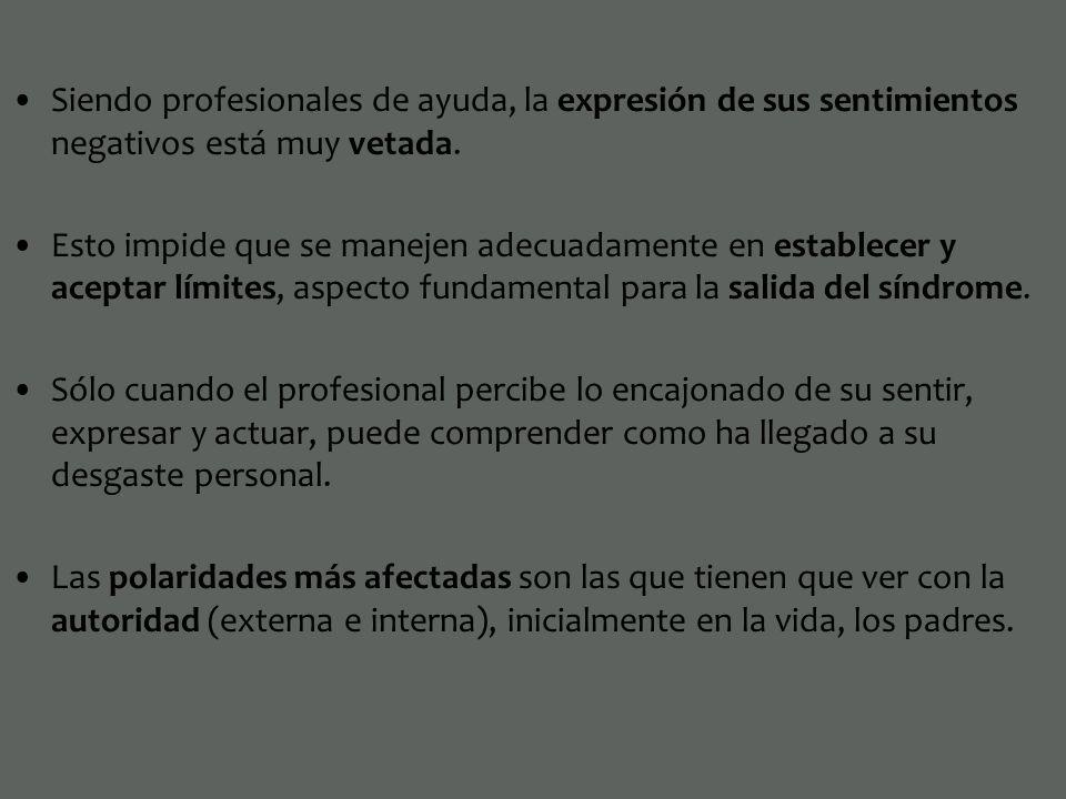 Siendo profesionales de ayuda, la expresión de sus sentimientos negativos está muy vetada.