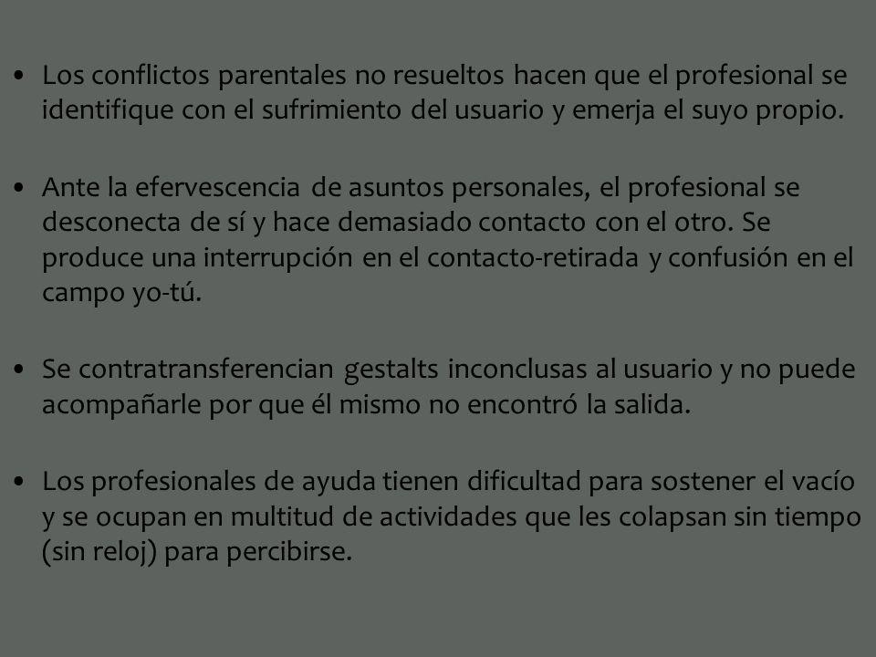 Los conflictos parentales no resueltos hacen que el profesional se identifique con el sufrimiento del usuario y emerja el suyo propio.