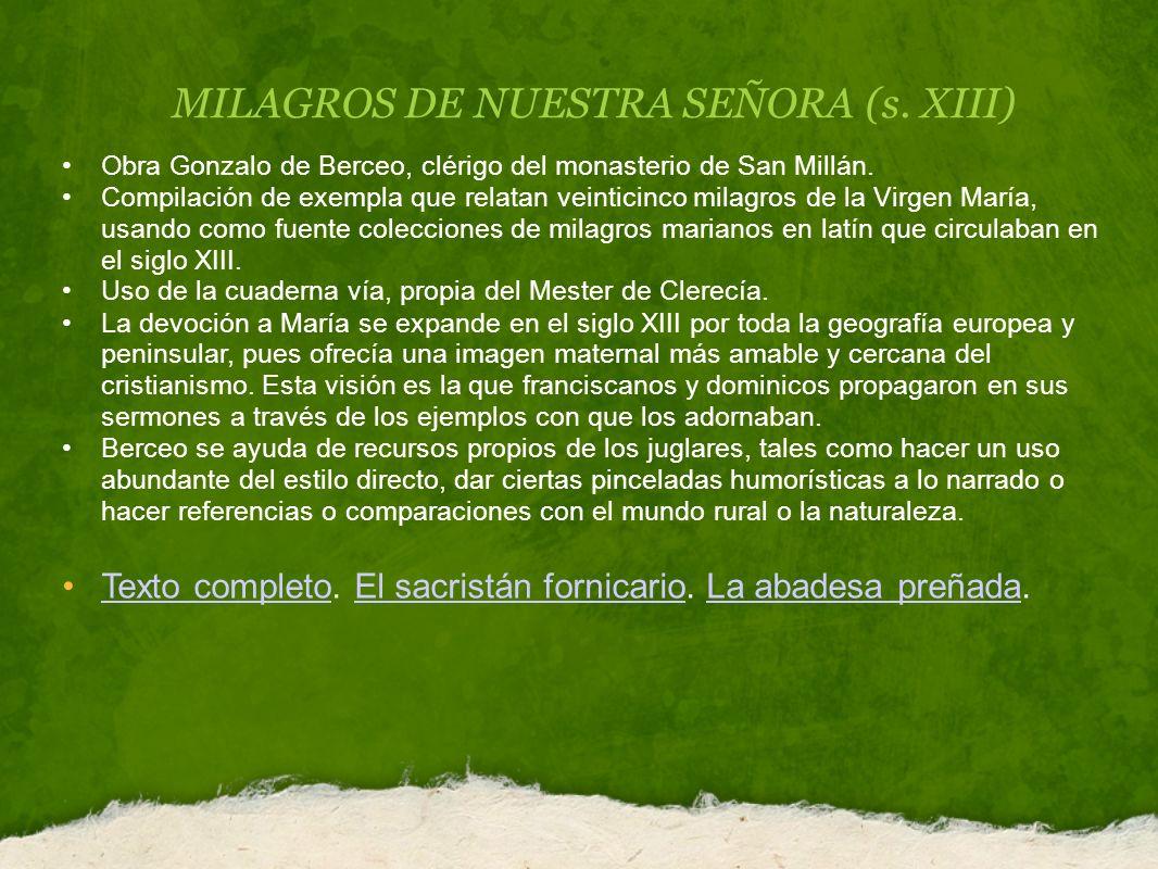 MILAGROS DE NUESTRA SEÑORA (s. XIII)