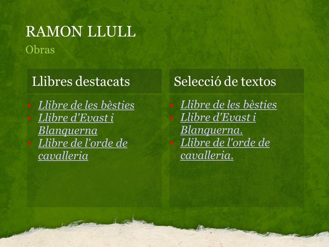 RAMON LLULL Llibres destacats Selecció de textos Obras
