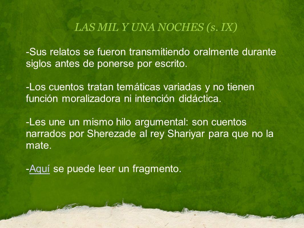 LAS MIL Y UNA NOCHES (s. IX)