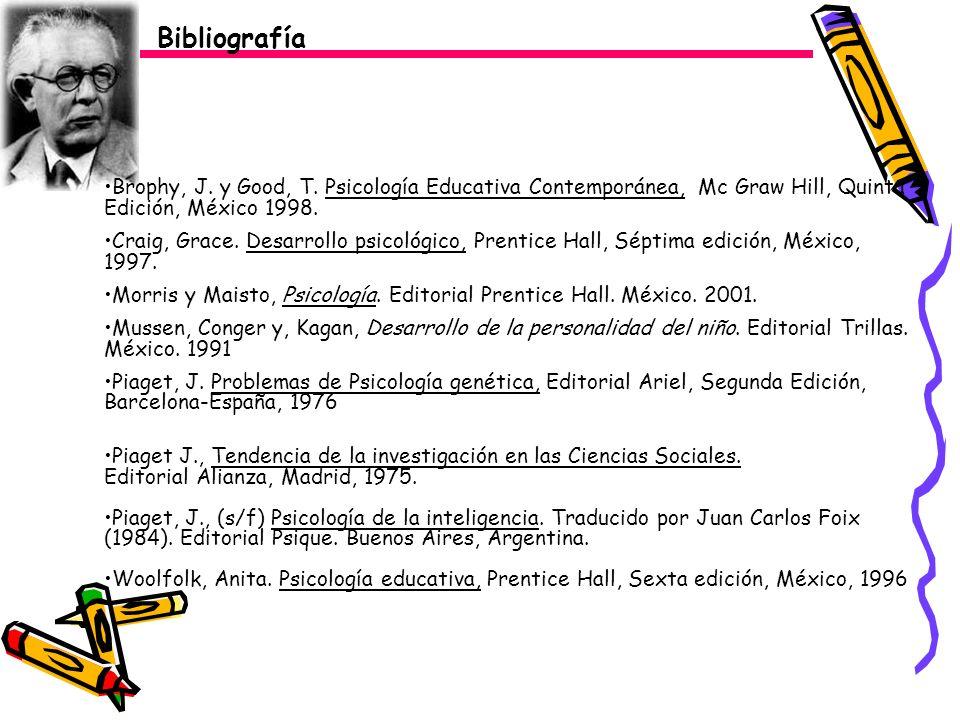 Bibliografía Brophy, J. y Good, T. Psicología Educativa Contemporánea, Mc Graw Hill, Quinta Edición, México 1998.