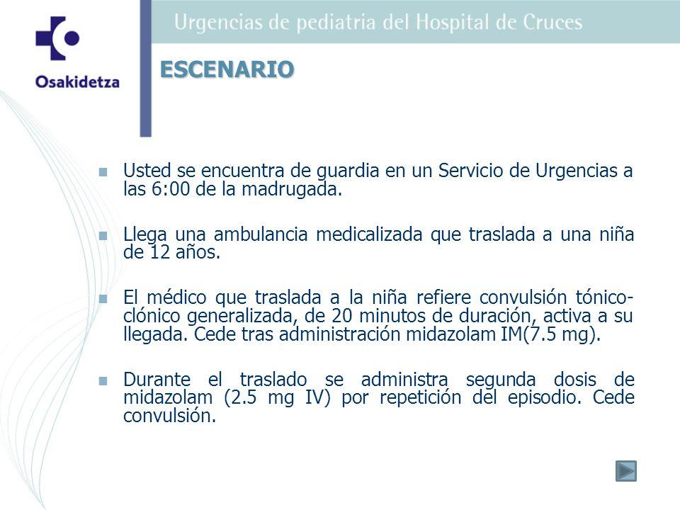 ESCENARIO Usted se encuentra de guardia en un Servicio de Urgencias a las 6:00 de la madrugada.