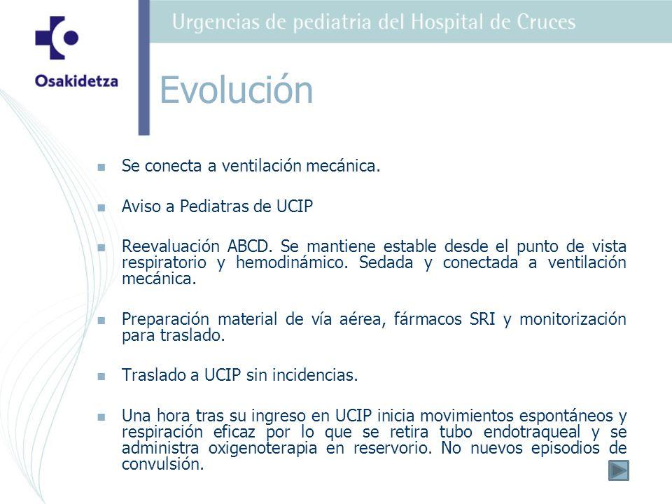 Evolución Se conecta a ventilación mecánica. Aviso a Pediatras de UCIP