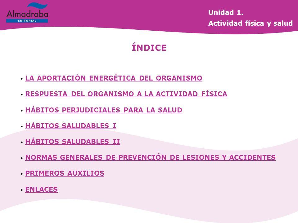 ÍNDICE Unidad 1. Actividad física y salud