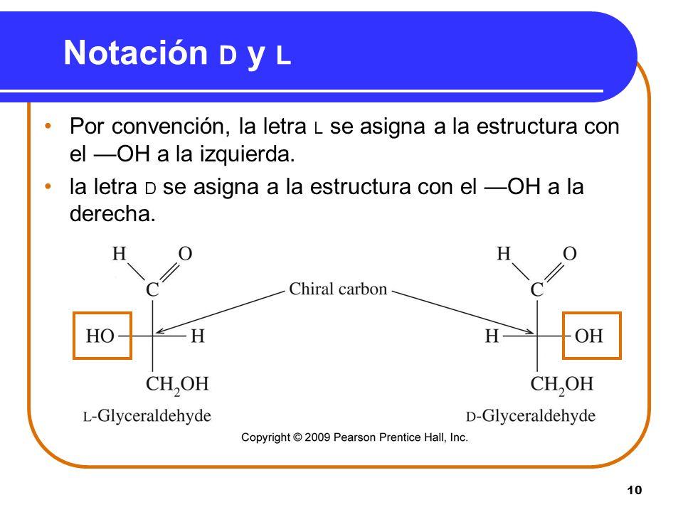 Notación D y L Por convención, la letra L se asigna a la estructura con el —OH a la izquierda.