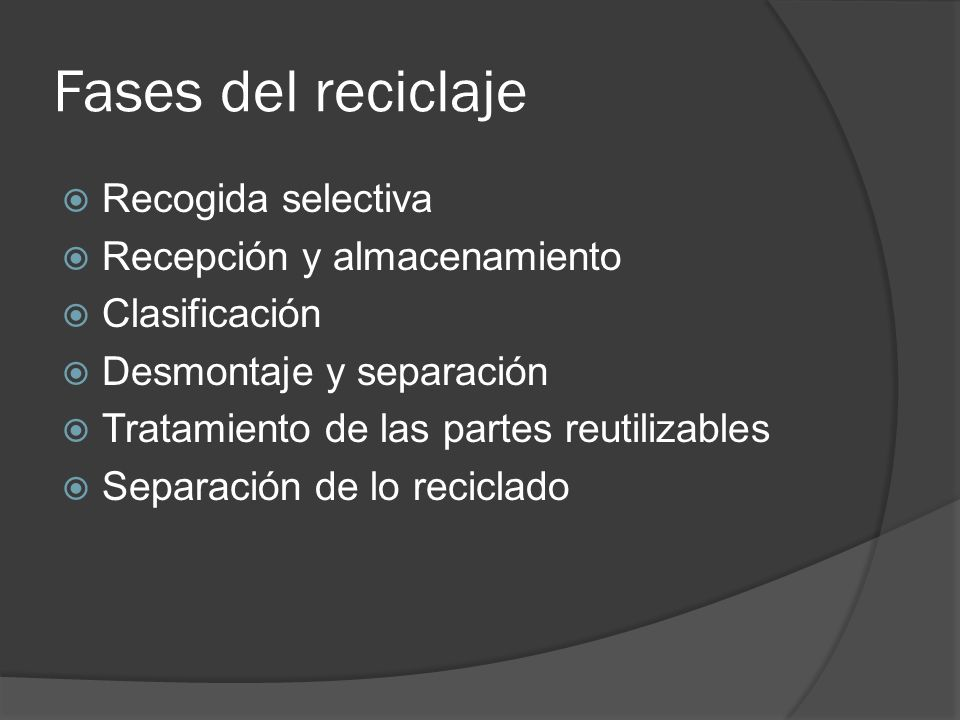 Fases del reciclaje Recogida selectiva Recepción y almacenamiento