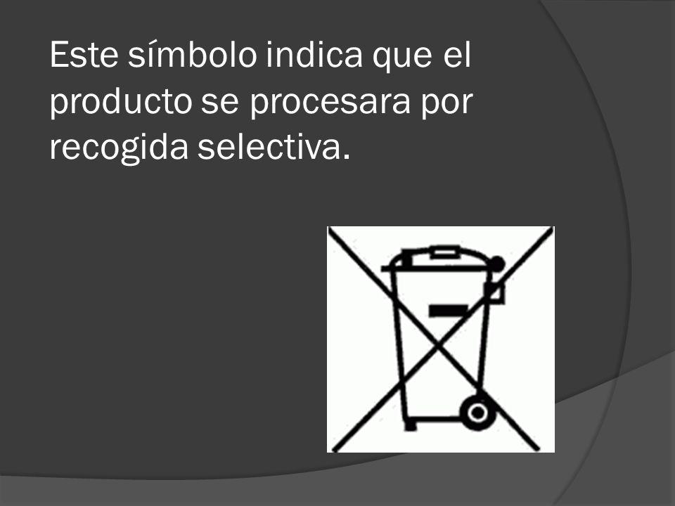 Este símbolo indica que el producto se procesara por recogida selectiva.