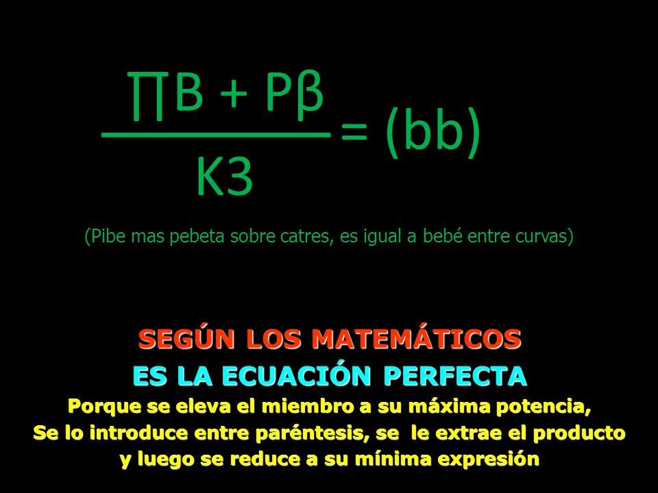 ____ ∏B + Pβ = (bb) K3 SEGÚN LOS MATEMÁTICOS ES LA ECUACIÓN PERFECTA
