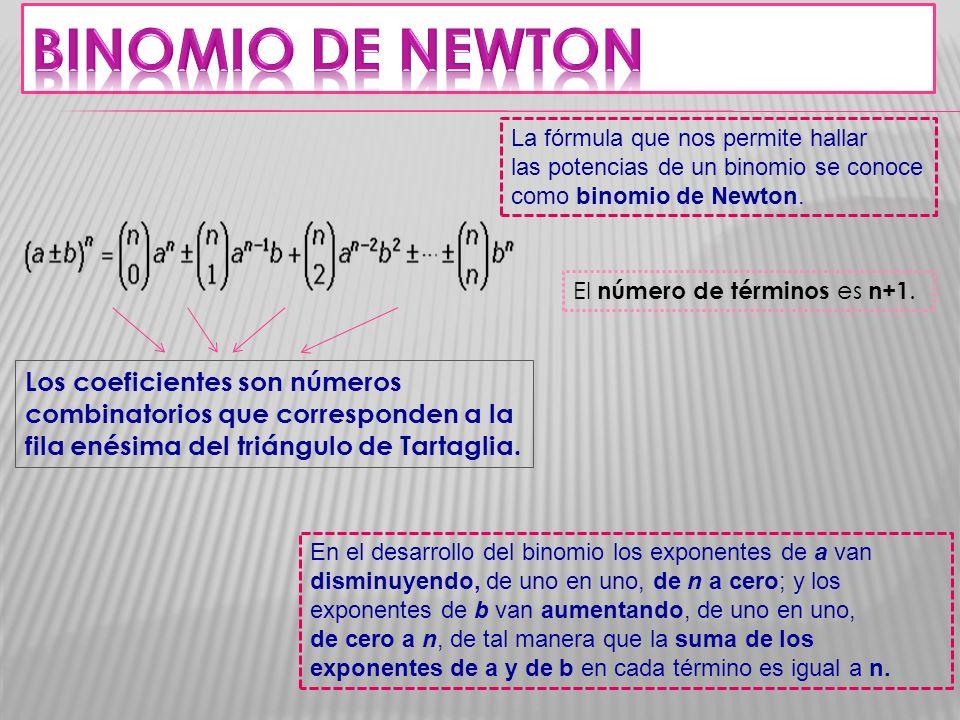BINOMIO DE NEWTON La fórmula que nos permite hallar las potencias de un binomio se conoce como binomio de Newton.