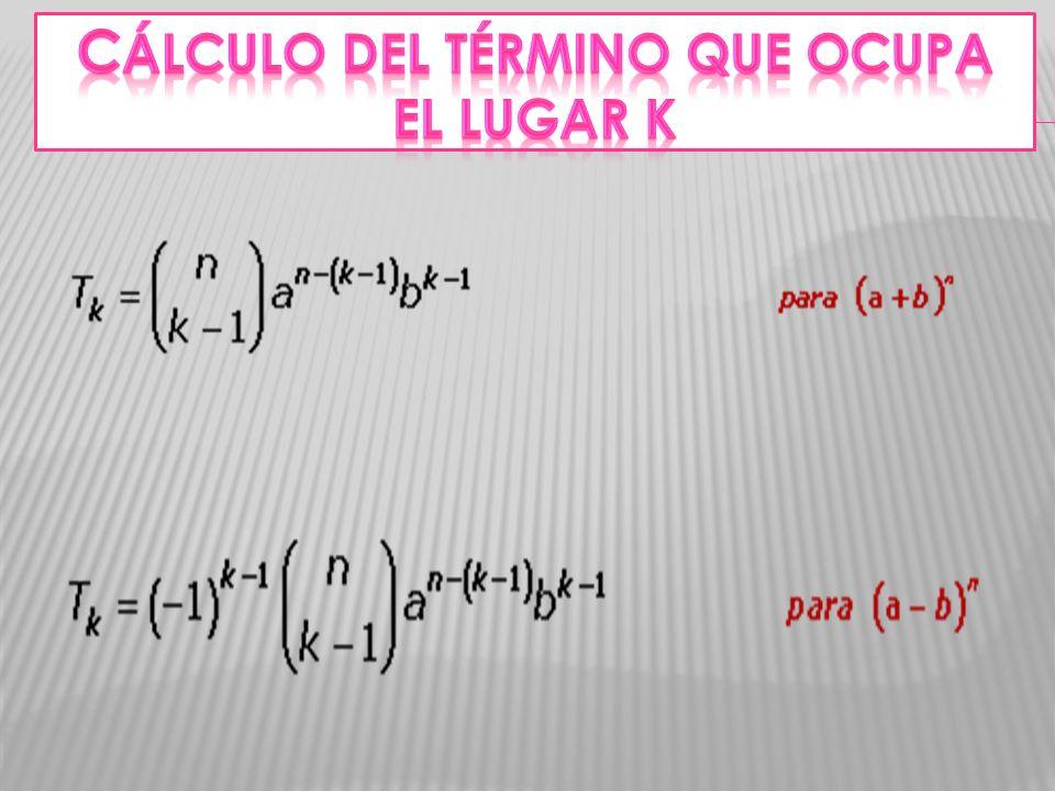 Cálculo del término que ocupa el lugar k