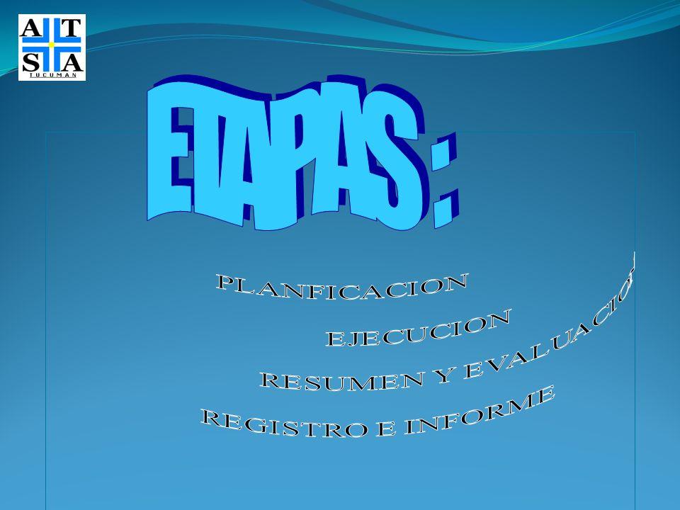 ETAPAS : PLANFICACION EJECUCION RESUMEN Y EVALUACION