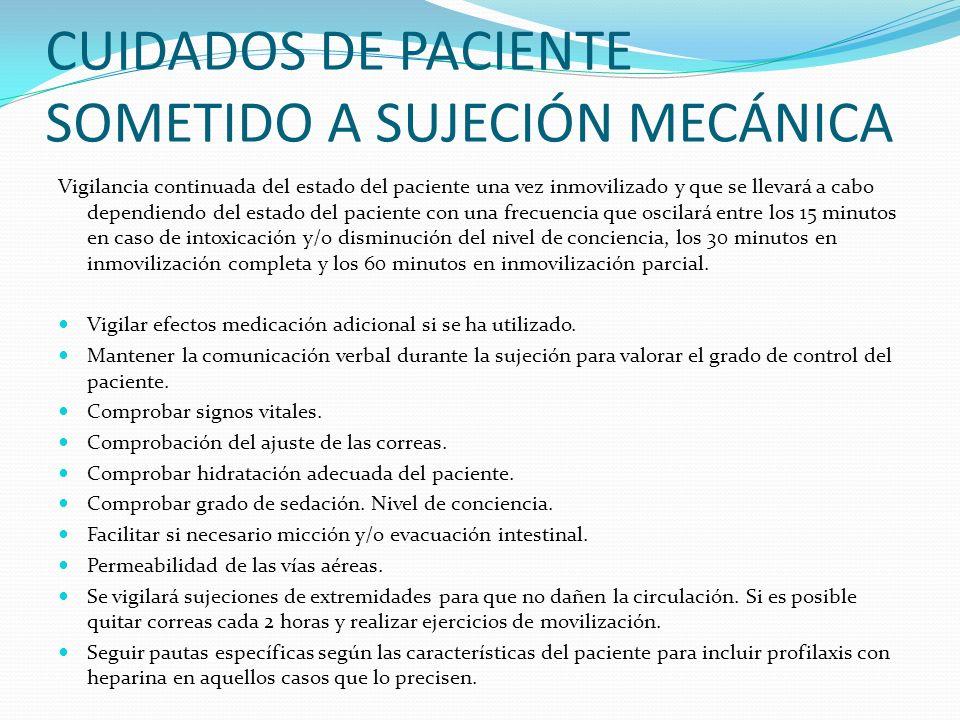 CUIDADOS DE PACIENTE SOMETIDO A SUJECIÓN MECÁNICA