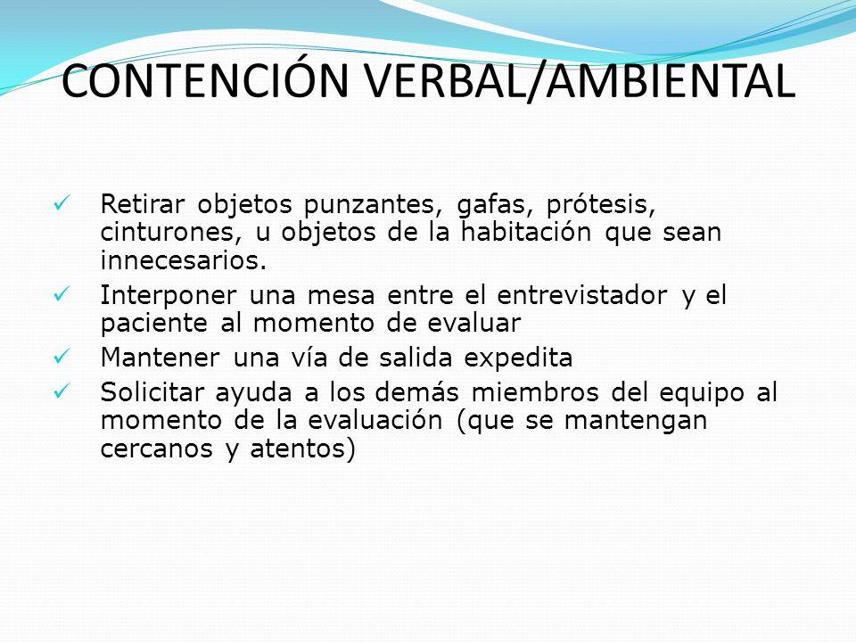 CONTENCIÓN VERBAL/AMBIENTAL
