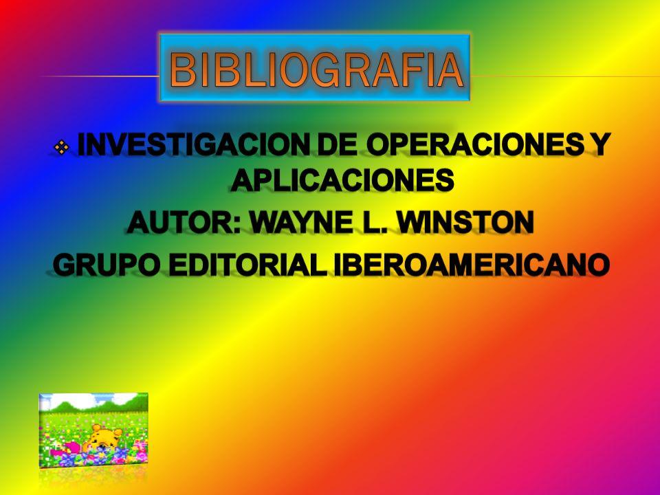 BIBLIOGRAFIA INVESTIGACION DE OPERACIONES Y APLICACIONES