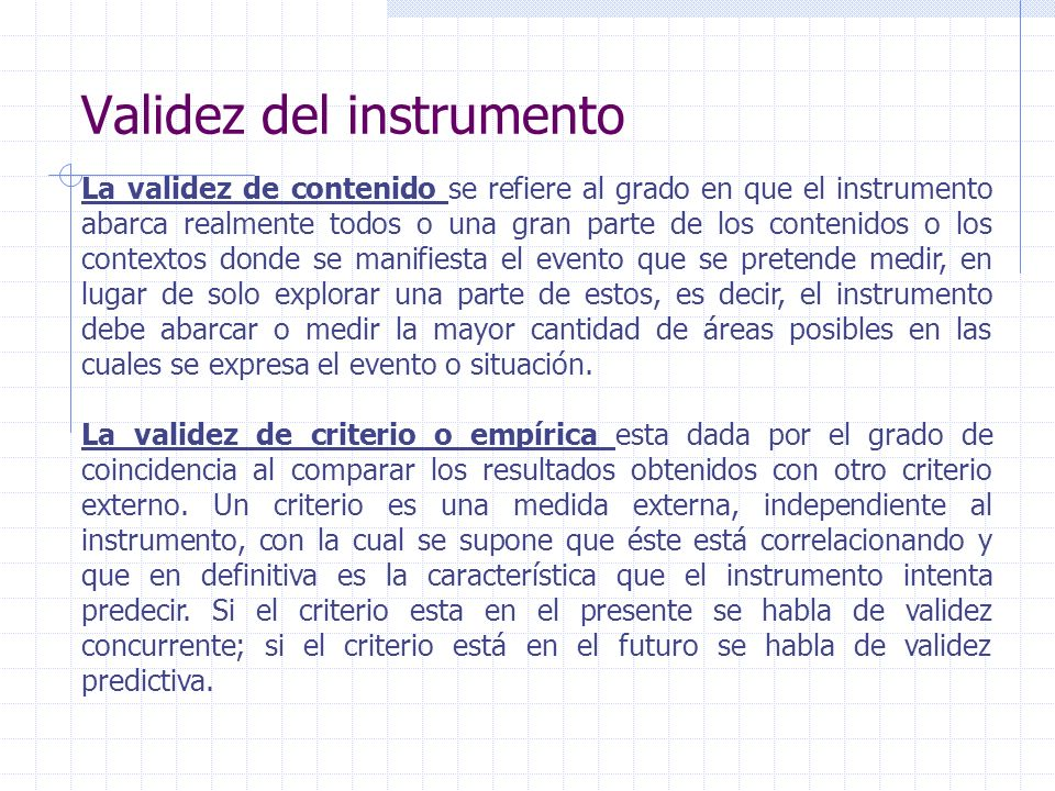 Validez del instrumento