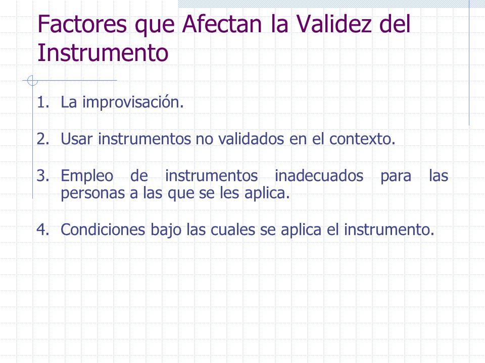 Factores que Afectan la Validez del Instrumento