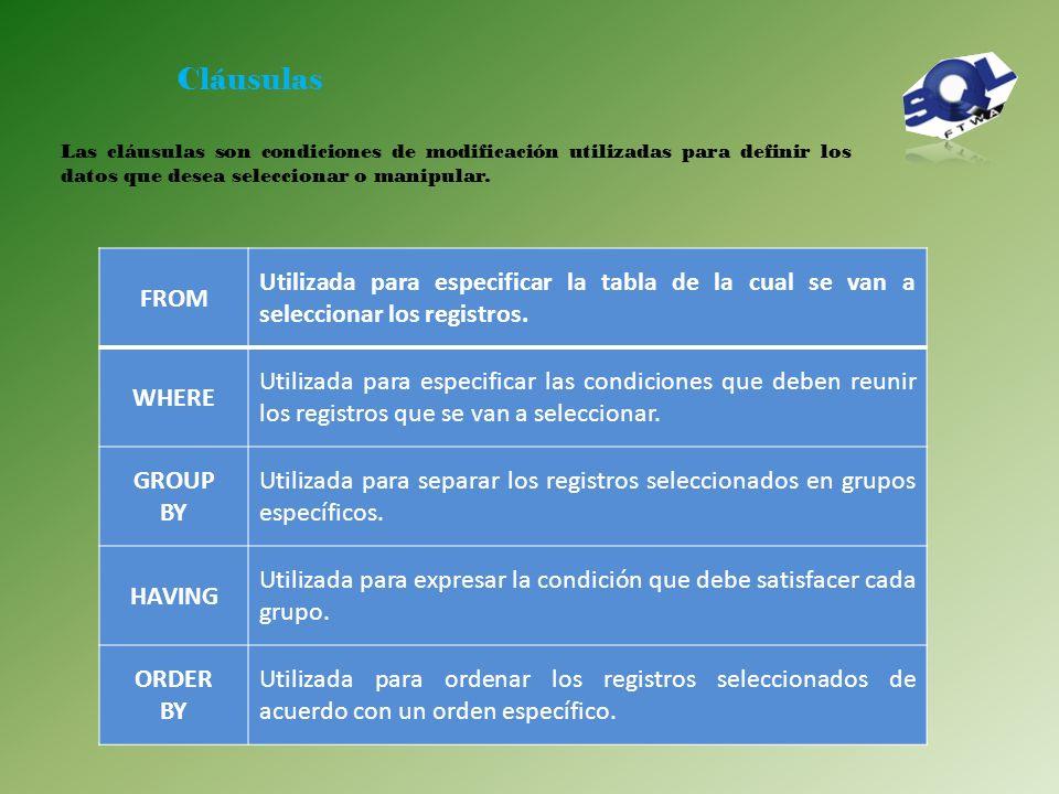 Cláusulas Las cláusulas son condiciones de modificación utilizadas para definir los datos que desea seleccionar o manipular.