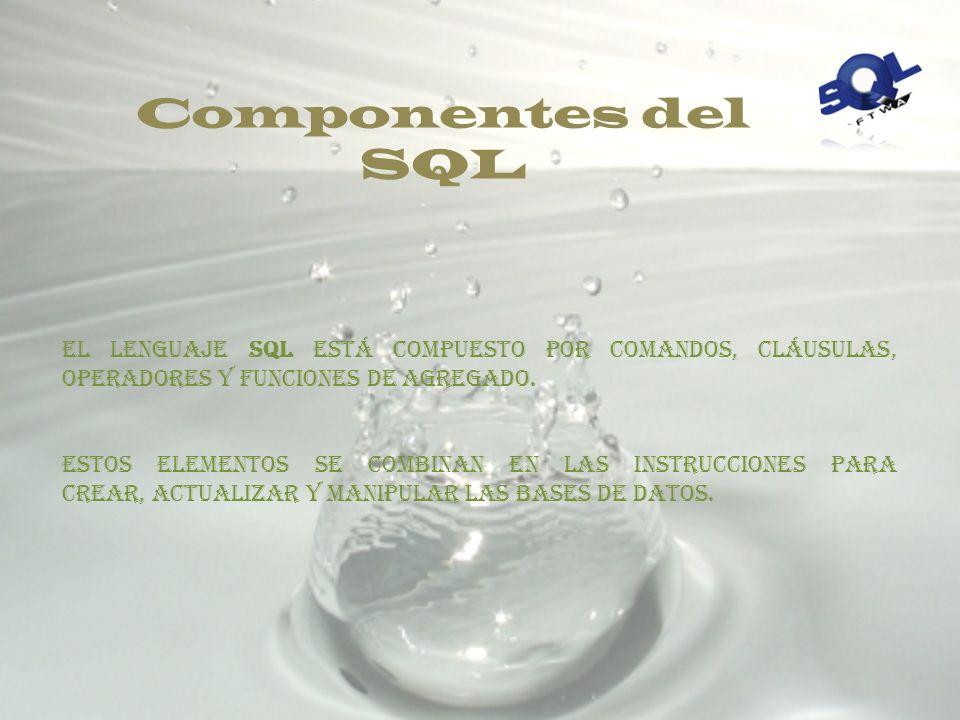 Componentes del SQL El lenguaje SQL está compuesto por comandos, cláusulas, operadores y funciones de agregado.