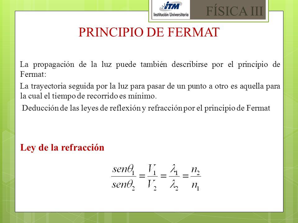 FÍSICA III PRINCIPIO DE FERMAT Ley de la refracción