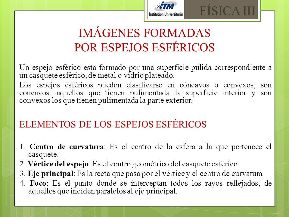 IMÁGENES FORMADAS POR ESPEJOS ESFÉRICOS