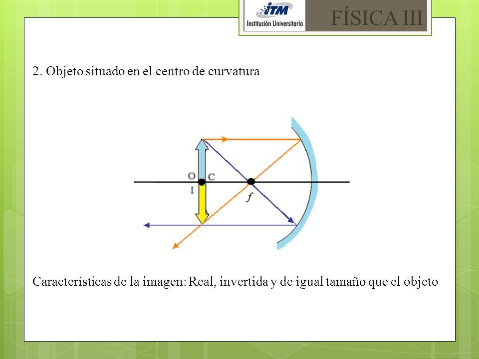 FÍSICA III 2. Objeto situado en el centro de curvatura
