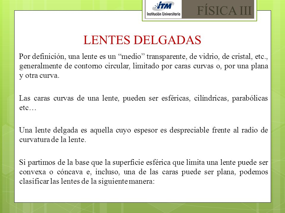 FÍSICA III LENTES DELGADAS