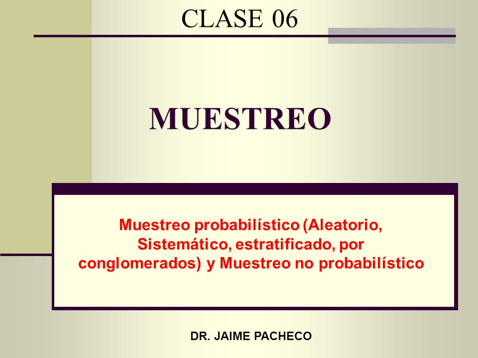 CLASE 06 MUESTREO. Muestreo probabilístico (Aleatorio, Sistemático, estratificado, por conglomerados) y Muestreo no probabilístico.
